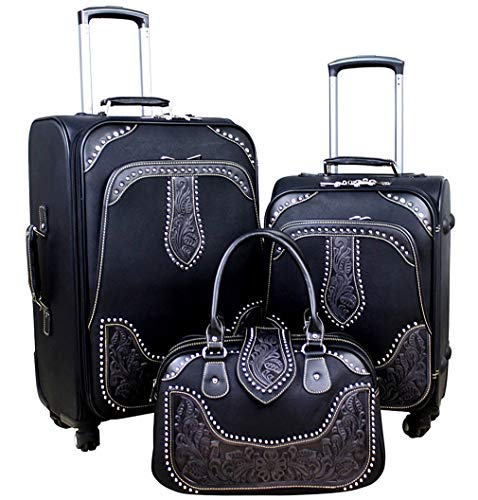 Find Discount Montana West Tooled Leather Collection 3 PC Luggage Set- black