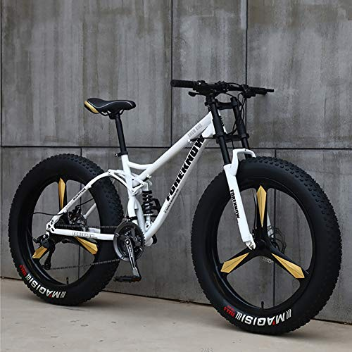 KKLTDI Bicycle,Men Women Student Variable Speed Bike,Fat Tire Mountain Bike,26 Inch Variable Speed Mountain Bikes White 3 Spoke 26',7-Speed