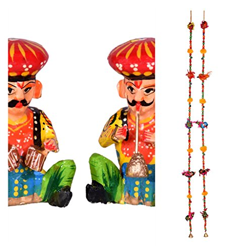 Indian Handmade home Decor Combo – door/wall hangings - cloth birds with colourful wooden beads, brass bell And set of 2 musicians show piece – Total 2 pairs