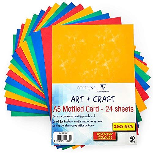 Clairefontaine A5 Moteado Tarjeta de Color Cartón Prensado - Calidad Premium-265gsm-4 Colores...