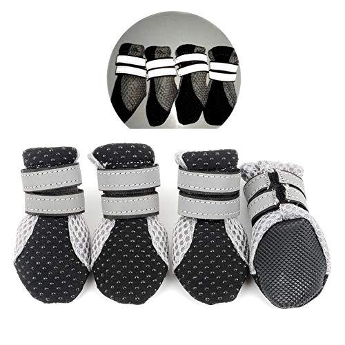 smalllee_lucky_store Sommer Air Mesh HundeSchuhe Stiefel Anti-Rutsch Pfotenschutz für Kleine Mittlere Hunde,verstellbar