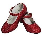 Gojoy shop- Zapato con Tacón de Danza Baile Flamenco o Sevillanas para Niña y Mujer, 10 Colores Disponibles (P-Rojo, 30)
