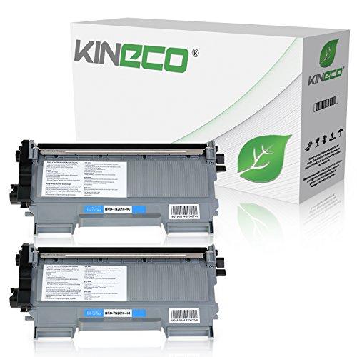 Kineco 2 Toner kompatibel für Brother TN2010 TN-2010 für Brother DCP-7055 W, DCP-7057, HL-2130 R, HL-2132 R, HL-2135 W - Schwarz je 3.000 Seiten