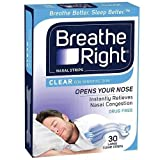 Breathe Right Breathe Right Clear Large Nasal Congestion and Snoring Aid Strips, 30s