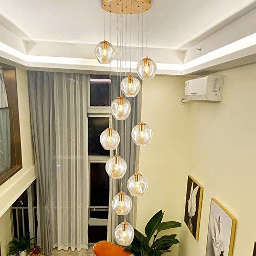 Araña Sala De Estar Moderna Colgante Iluminación con Araña De Longeles Largos De Sombra De Vidrio con Sombra De Vidrio para Vivir Y Comedor Restaurante De Escalera De Pasillo(Size:3Lights30x80cm)