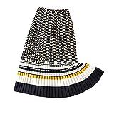 minjiSF Falda larga para mujer, moda verano boho, falda plisada, informal, cintura alta, elástica, estampada, color de contraste, línea A, falda Midi larga amarillo XXL