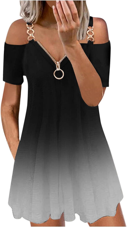 NLLSHGJ Summer Dresses for Women Fashion Casual V-Neck Short Sleeve Strap Open Back Sexy Zipper Maxi Casual Dress