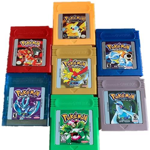 Pokemon Gameboy Color Collection - Confezione da 7 videogiochi (verde, blu, rosso, giallo, oro, cristallo, argento) per videogiochi a 16 bit