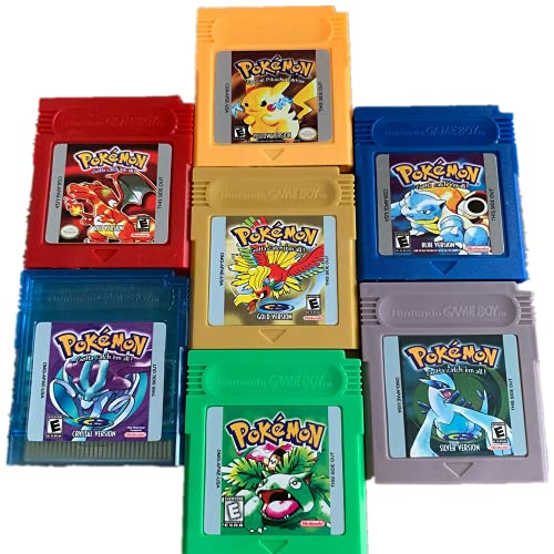 Pokémon Gameboy Color Collection Lot de 7 jeux vidéo (vert, bleu, rouge, jaune, or, cristal, argent) pour 16 bits