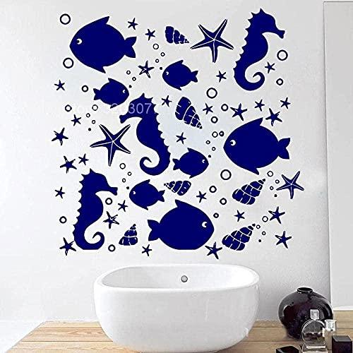 Estrella de mar Caballito de mar Caracol de mar Océano Animal Tatuajes de pared Decoración del hogar Baño WC Baño Vinilo Adhesivo impermeable Azulejos Mural 57x57cm