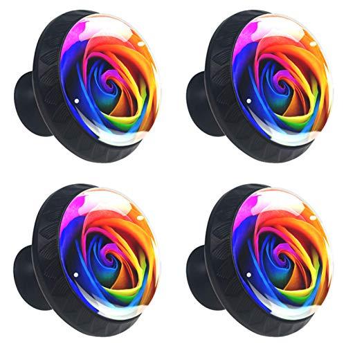 Juego de 4 tiradores de armario de cocina con tornillos, diseño de flores de arco iris