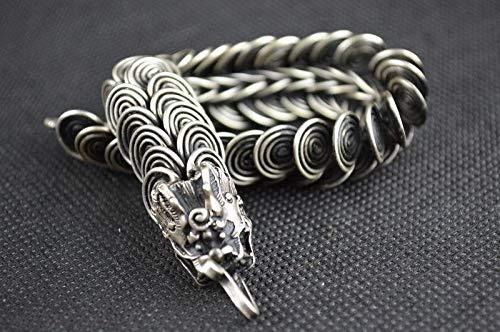 juntao Colección Chinese Tíbet Silver Tallado Animal Zodiaco Lucky Dragon Pulsera Exquisito Regalo Pequeño