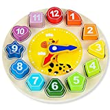 AISHUN Wooden Shape Color Sorting Clock Teaching Time Number Blocks Animal Patterns Puzzle Stacking Sorter Montessori Early Learning Educational Toy Gift for 3 Year Old Toddler Baby Kids