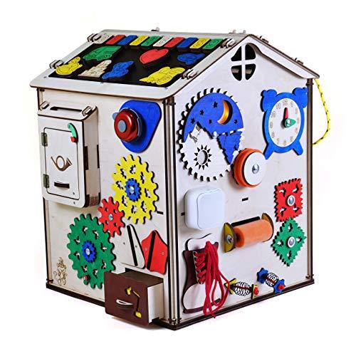 Aktivitätswürfel Holz mit Licht 19 in 1 Motorikwürfel Montessori Aktivitätsbrett Entwickelndes Spielzeug Beschäftigtes Brett Busyboard für Kinder