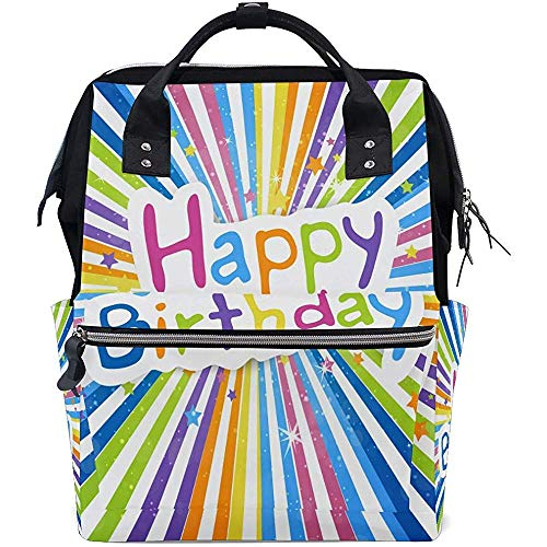 Mummy Backpack Rainbow Letter Birthday Backpacks Diaper Dad Backpack Multi-Function Large Capacity Mom Casual Baby Bags Travel Zipper Unisex 28X18X40Cm