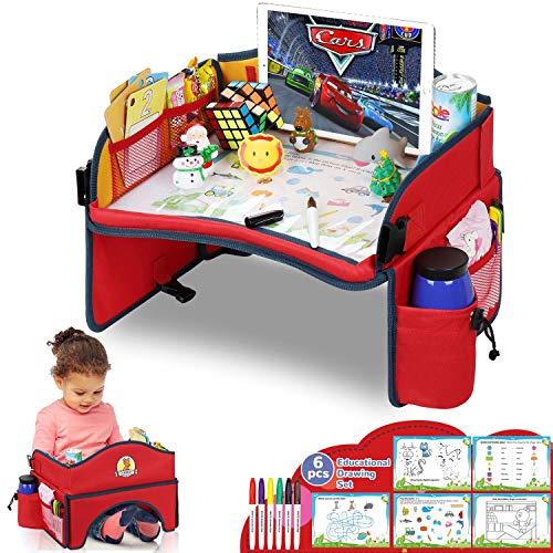 lenbest Stehen Können Kinder Reisetisch, Starke Stabilität Kindersitz Spiel und Knietablett Reisetisch, Lernspielzeug für den Innenbereich mit 5 Zeichenpapier und 6 Farbstiften - Rot und Gelb