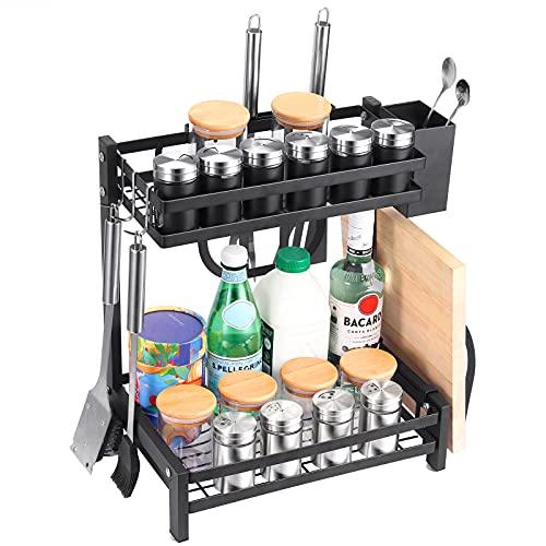 Estantería para Especias, JiGiU Especiero de Cocina de 2 Niveles Soportes para Botes de Especias Acero Inoxidable con 3 Ganchos para el Almacenamiento de Frascos de Especias y Botellas-Negro