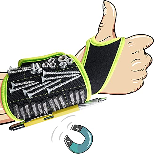 walowalo Magnetic Wristband Tool Belt with Strong Magnets Holding Screws Nails Drill Bits Unique Wrist Support Design Cool Handyman Gadgets Birthday Gift for Dad Husband Boyfriend Men Electrician