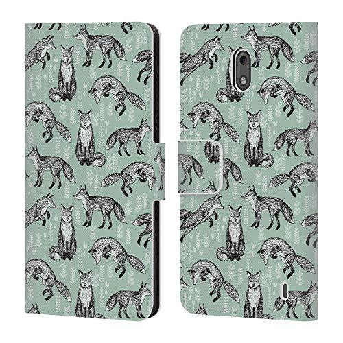 Offizielle Andrea Lauren Design Fuchs Tiere Leder Brieftaschen Huelle kompatibel mit Nokia 2