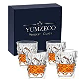 Yumzeco Whiskey Glasses Set 4, Old Fashioned Whiskey Glass in Luxury Gift Box, Rocks Glasses, Diamond Crystal Glassware, Whiskey Tumblers for Scotch, Bourbon Whiskey, Cocktails, Cognac(11 oz)
