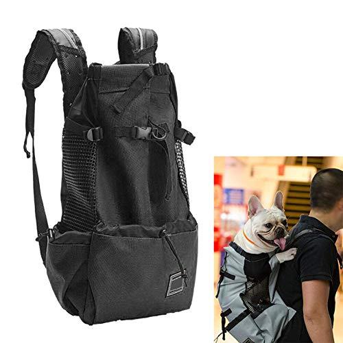 HOKUK Hunderucksack für kleine und mittlere Haustiere - Verstellbarer Pack für die Vorderseite - Voll belüftete Sicherheitstasche Rucksack für unterwegs Hundetragetasche,Black,L