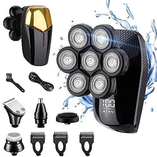 7D Electric Razor for Men 5 in 1 Head Shavers for Bald Men Rechargeable Rotary Shaver IPX7 Waterproof Wet Dry Grooming Kit Cordless Bald Head Shaver Trimmer Sets