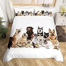 Loussiesd - Juego de ropa cama infantil con diseño perro, funda nórdica para niños y niñas, suave transpirable, juego microfibra cremallera almohada, Style6., 135*200+80*80*1