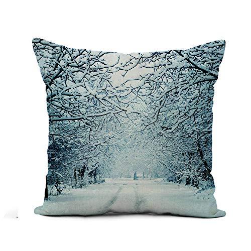 N\A Fodera per Cuscino di tiro Neve Paesaggio Invernale Scena Albero Natale Foresta Giorno Frozen Federa Decorazioni per la casa Fodera per Cuscino in Lino Cotone Quadrato