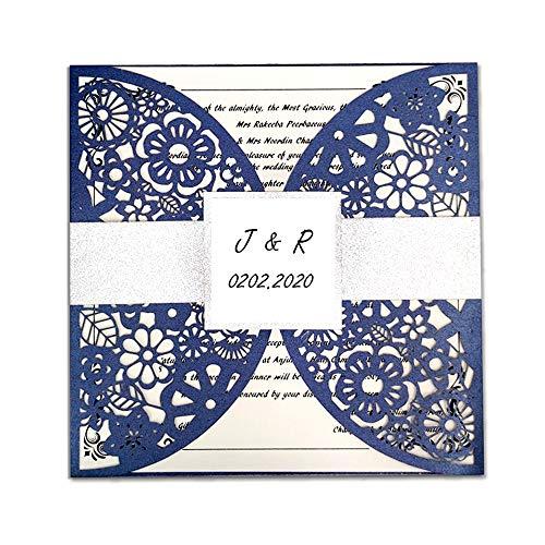 50 kits de banda de encaje plateado con purpurina personalizada, invitaciones de boda con sobres baratos de bricolaje cortado con láser, invitaciones para fiestas de cumpleaños