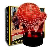 KangYD Aerostato di aria calda della luce notturna 3D, LED Illusione ottica Lampada, Sfumatura colorata, Regalo di compleanno, Regalo di San Valentino, E - Base sveglia (7 colori)