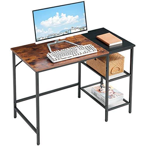 YMYNY 100cm Mesa de Ordenador, Escritorio Mesa de Trabajo Mesa de Oficina con 2 Niveles de Estante, para Oficina, Dormitorio, Estudio, Estructura Metálica, Montaje Fácil HTMJ32SHB