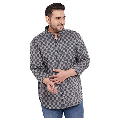 Instafab Plus Men Plus Size Checks Stylish Casual Shirts (4XL) Grey