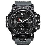 SMAELBand Männer Military Watch 50m wasserdichte Armbanduhr LED Quarzuhr Sportuhr Männliche Sportuhr Men S Shock,Gray