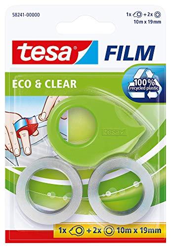 Tesa film Eco & Clear, 2 Rollen + Mini Abroller ecoLogo im Blister