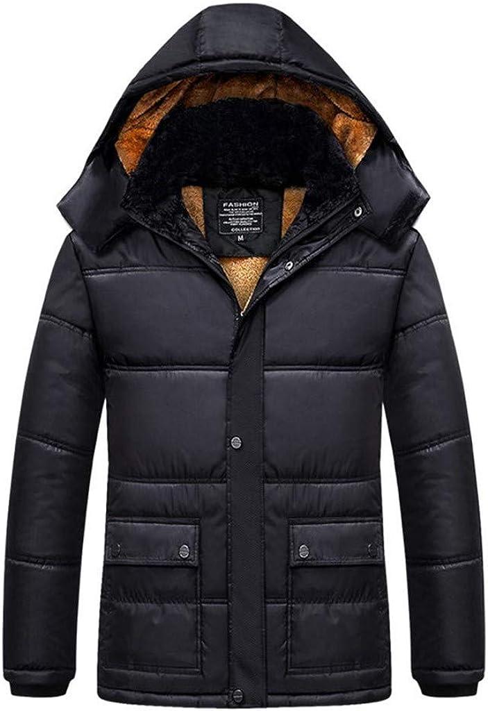 Men's Winter Warm Coat Zipper Long Sleeve Hoodies Jacket Windproof Outwear