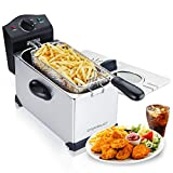 Aigostar Deep Fryer 2200W, 3L, 304 Food Grade Stainless Steel, with Viewing Window, Temperature Control, Removable Oil Basket, Silver  Ushas 30JPN.
