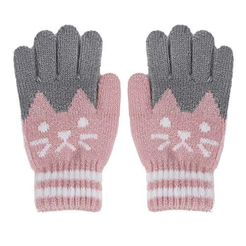 FakeFace, vingerhandschoenen, gebreide handschoenen met kat, jongens en meisjes, winterwarme gebreide handschoenen, fleece-binnenvoering