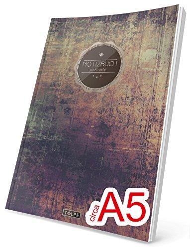 """TULPE Punktraster Notizbuch: Ca. A5 """"C118 Schlichte Wand"""" (Vintage Softcover, Register, Punktpapier - Bullet Journal, Kalligraphie Übungsheft, Skizzenbuch, Gepunktete Seiten, Dotted Grid Journal)"""