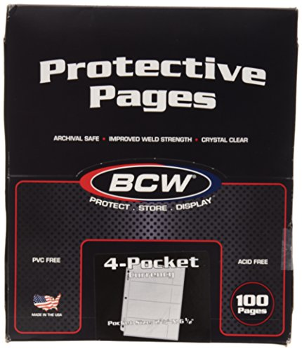 """100 4-Pocket Currency Pages 2.75"""" x 6.5"""" BCW NEW"""