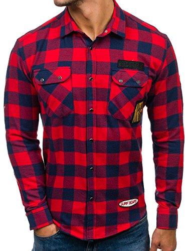 BOLF Herren Hemd Flanellhemd mit Druckknopfe Baumwollmisching Kariert Doppelfarbig NORTHIST 2503 Rot M [2B2]