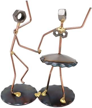 Square Dancers Collectible Handmade Metal Art Figurine, Desk Accessories, Trophy, Boss Gift, Office Décor, Dancing