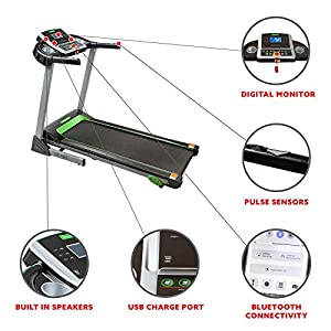 Fitness Avenue Treadmill with Manual Incline and Bluetooth Speakers by Sunny Health & Fitness, Black (FA-7967)