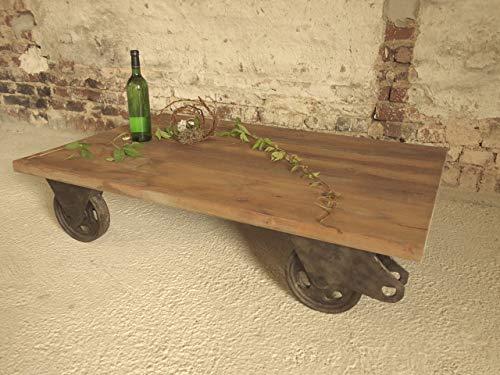 Tisch mit alten Industrierollen,Gussrollen, Industriedesign, Industrielook, Loft-Tisch, Couchtisch, Beistelltisch, Unikat, Handmade in Germany, Maße 120 x 78 x 27 cm