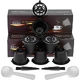 Lictin Capsule per Caffè Ricaricabili per Nespresso, 6 Tazze +2 Cucchiaio di Plastica +2 Spazzola i Cafilas