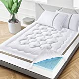 BedStory 4 Inch Mattress Topper Dual-Layer, Twin Size Pillow Top & Gel Memory Foam Bed Toppers, 2-in-1 Combination of Comfort and Support, White