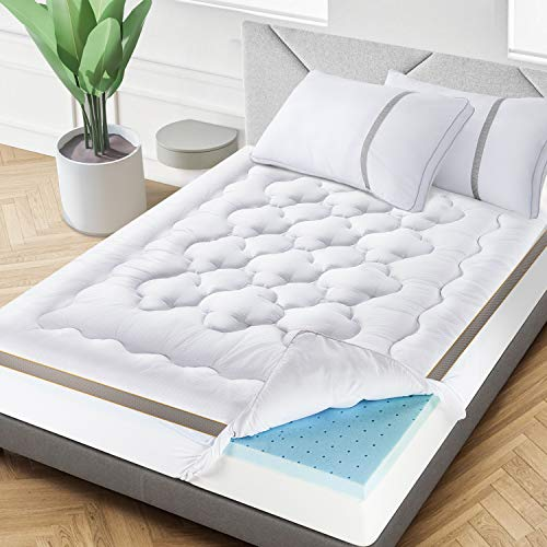 BedStory 4 Inch Mattress Topper Dual-Layer, Queen Size Pillow Top & Gel Memory Foam Bed Toppers, 2-in-1 Combination of Comfort and Support, White