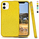 Inbeage Bio iPhone 11 Phone Case,Eco-Friendly,Natural Texture,Speckled,6.1 Inches (Cyber Yellow)