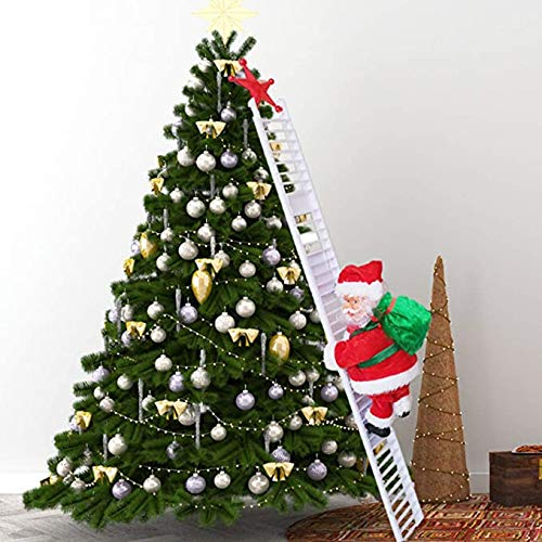 Electric Santa Climbing Ladder to Tree, Climbing Up and Down Santa Claus on Ladder with Music and Bag of Presents Tree Holiday Party Home Door Wall Decoration Xmas Ornament