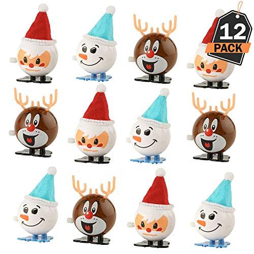 Set da 12 Pezzi di Giocattoli a Molla di Natale Calze e Confezioni Regalo per Feste Regali Bomboniere 3 Diversi Disegni per Set