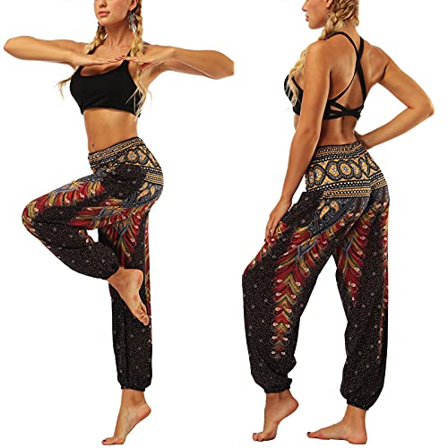 Nuofengkudu Baggy Indian Hippie Pants for Women Boho Vintage Floral Patterned Elasticated High Waist Black Peacock Print Comfortable Harem Pyjama Trousers for Yoga Summer Beach(Size: One Size)